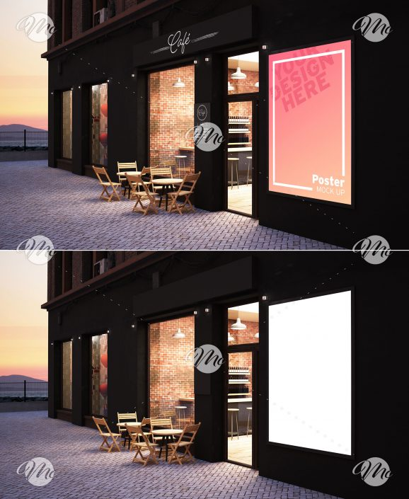 Cafe Storefront with Poster Mockup
