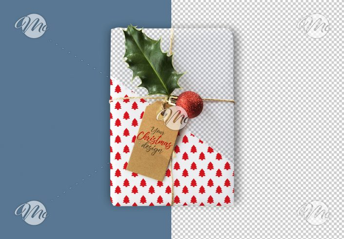 Christmas Gift and Tag Mockup