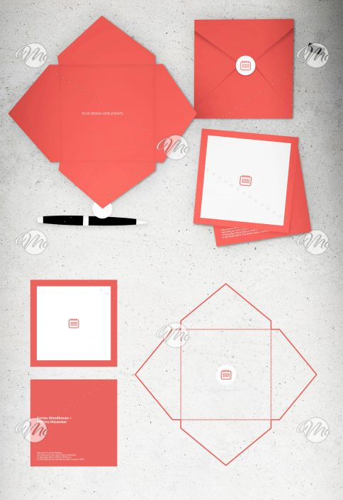 Event Invitation Set with Folded Envelope and Sticker Layout