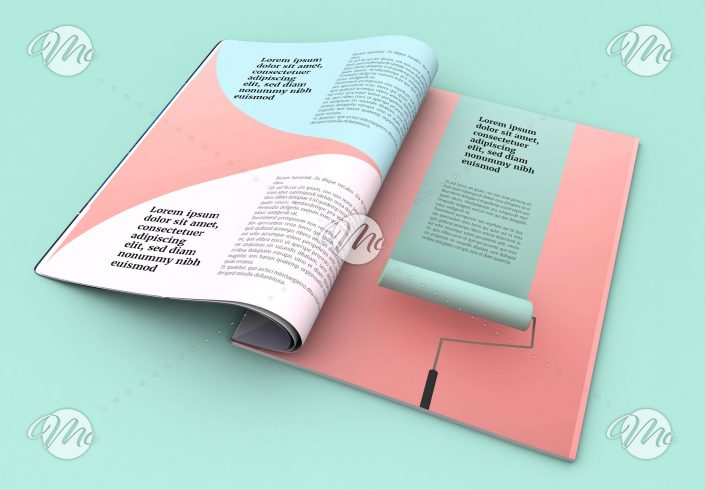 Magazine Layout with Pastel Colors and Rounded Elements