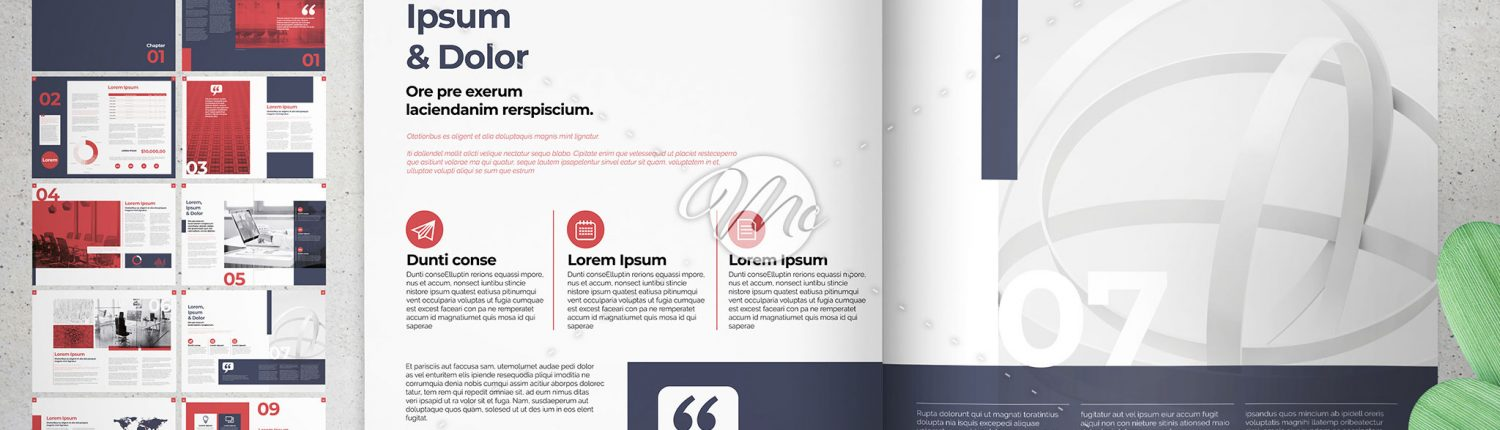 Presentation Brochure Layout with Navy and Red Elements