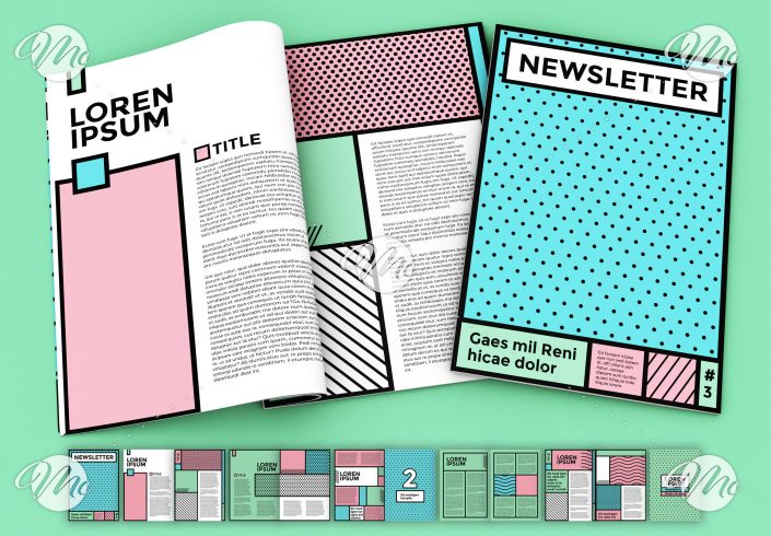 Pop Art Style Newsletter Layout with Pastel Accents