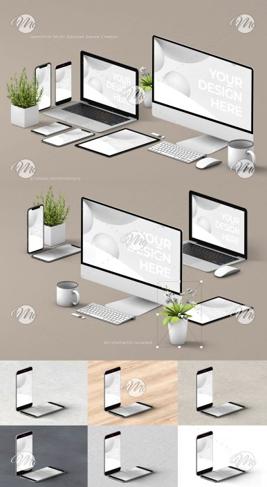 Computer, Tablet, and Smartphone Scene Creator Mockup
