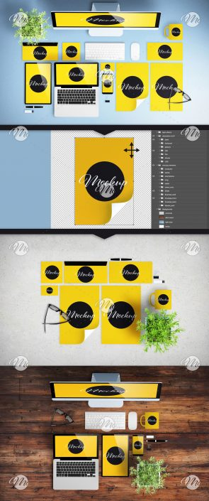 Top View Desktop Scene Creator Mockup with Digital Devices and Corporate Identity Elements