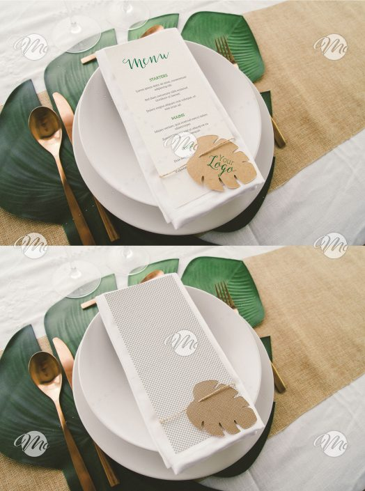 Menu on Dinner Table with Tropical Leaf Mockup